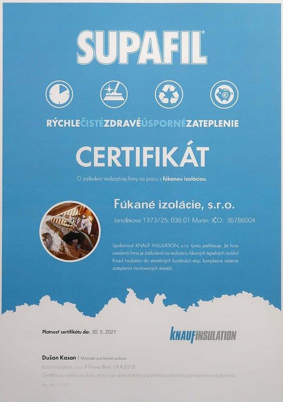 Certifikát Supafil